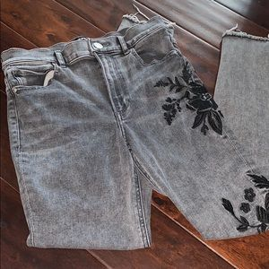 Black  jeans with black flowers
